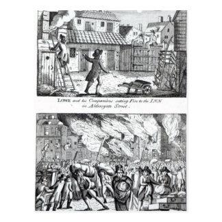 Carte Postale Edouard Lowe et ses compagnons mettant le feu