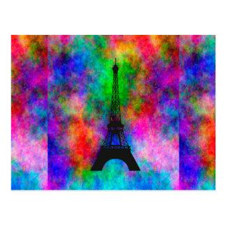 Carte Postale Effet coloré de tissu de Paris de beau Tour Eiffel