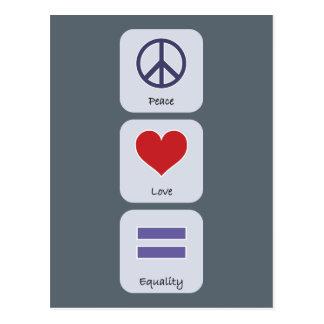 Carte Postale Égalité d'amour de paix
