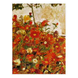 Carte Postale Egon Schiele : Champ d'illustration de fleurs
