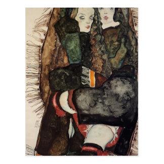 Carte Postale Egon Schiele- deux filles sur une couverture