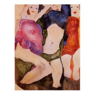 Carte Postale Egon Schiele- trois filles