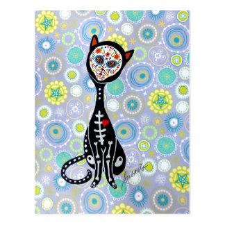 Carte Postale EL gato dia de los muertos par des prisarts