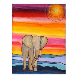 Carte Postale Éléphant au coucher du soleil en Afrique (K.