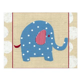 Carte Postale Éléphant bleu avec le pois blanc