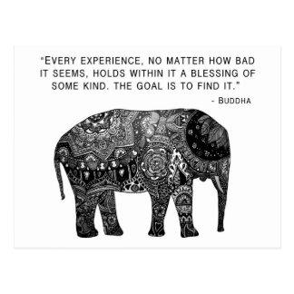 Carte Postale Éléphant de sagesse de henné de Bouddha