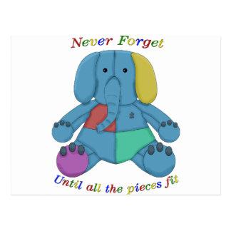 Carte Postale Éléphant de sensibilisation sur l'autisme