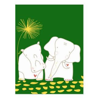 Carte Postale Éléphant et hippopotame minimalistes - jaune et