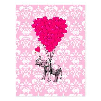 Carte Postale Éléphant mignon drôle et damassé rose