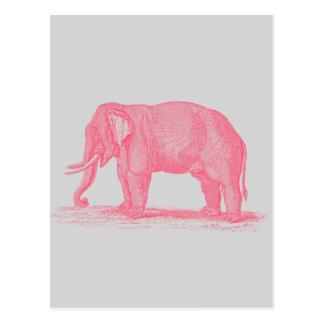 Carte Postale Éléphant rose vintage sur les éléphants gris de