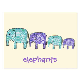 Carte Postale Éléphants