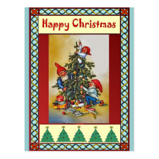 Carte Postale Elfes décorant l'arbre de Noël