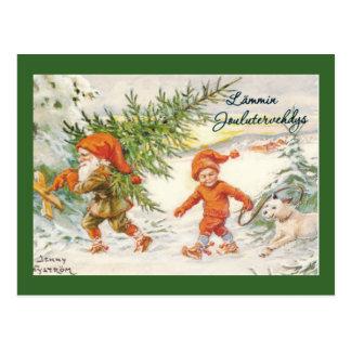Carte Postale Elfes moissonnant des arbres de Noël
