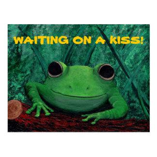 Carte Postale EMBRASSEZ-MOI ! ~ (de conception de grenouille)