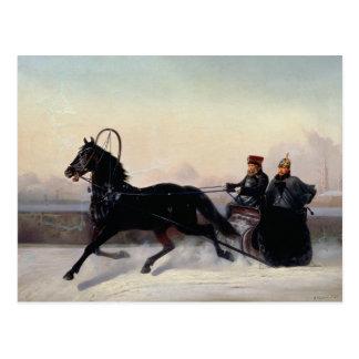 Carte Postale Empereur Nicholas I conduisant dans Sleigh