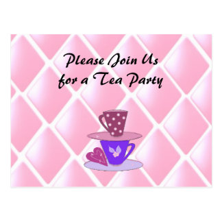 Carte Postale Empilement de l'invitation de thé de tasses de thé