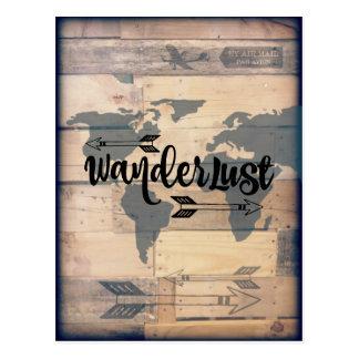 Carte postale en bois rustique de voyage d'envie