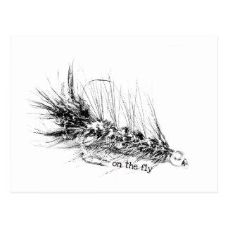 Carte Postale En marche - amorce de motif de la mouche du