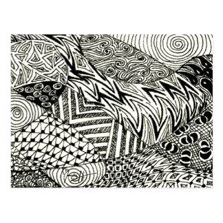 Carte Postale en noir et blanc - lamantin abstrait