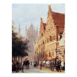 Carte Postale En Weeshuis de Kerkegracht à Leyde par Cornelis