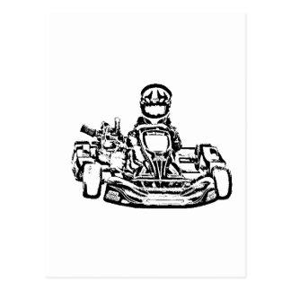 Carte Postale Encrage de B&W du coureur de kart