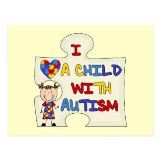 Carte Postale Enfant avec la fille 2 de brune d'autisme