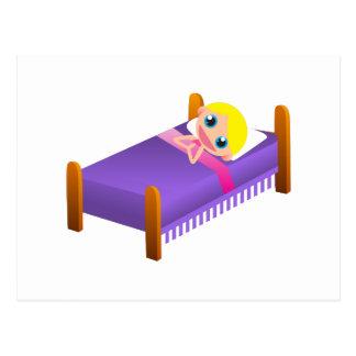 Carte Postale Enfant dans le lit