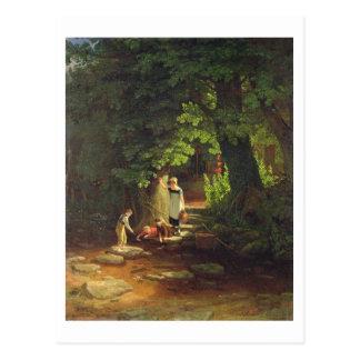 Carte Postale Enfants par un ruisseau, c.1822 (huile sur le