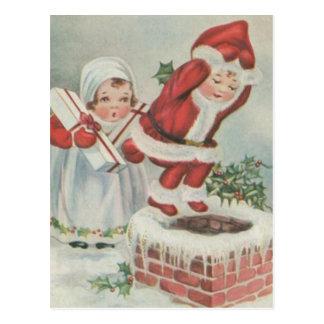 Carte Postale Enfants vintages de Père Noël