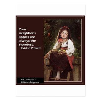 Carte Postale Énonciation Yiddish concernant les pommes et le