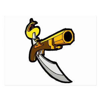 Carte Postale Épée et arme à feu