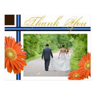 Carte Postale Épouser bleu de Merci d'or de Brown de marguerite