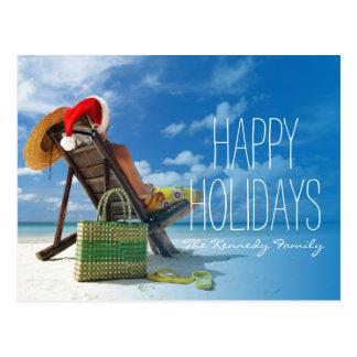 Carte Postale Équipez la détente sur la plage dans le casquette