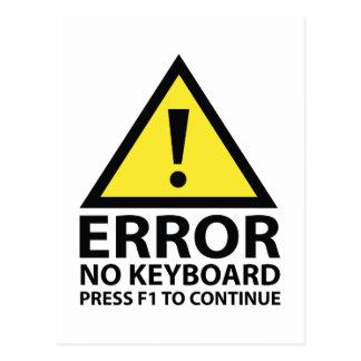 Carte Postale Erreur aucune presse F1 de clavier à continuer