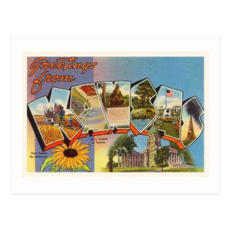 Carte Postale État de vieux souvenir vintage de voyage du Kansas
