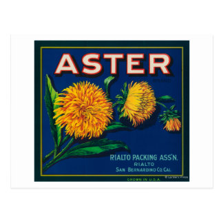 Carte Postale Étiquette de caisse d'agrume de marque d'aster