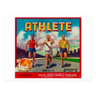 Carte Postale Étiquette de caisse d'agrume de marque d'athlète