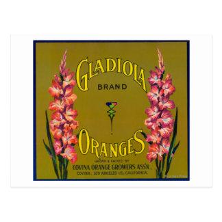 Carte Postale Étiquette de caisse d'agrume de marque de Gladiola