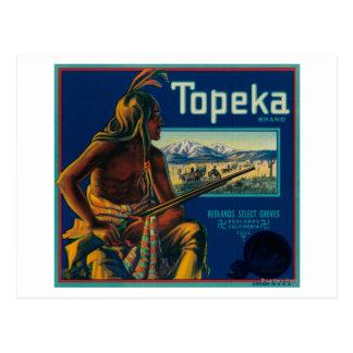 Carte Postale Étiquette de caisse d'agrume de marque de Topeka