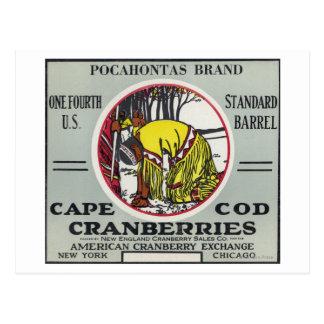 Carte Postale Étiquette de canneberge de marque de Cape Cod