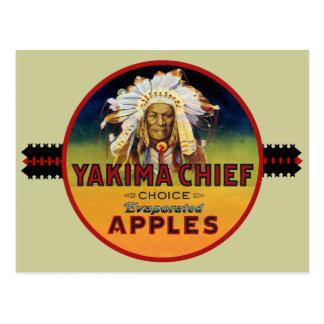 Carte Postale Étiquette en chef de caisse de Yakima Apple