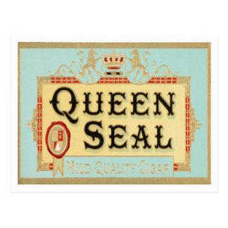 Carte Postale Étiquette vintage de cigare de joint de la Reine