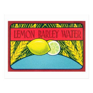 Carte Postale Étiquette vintage de l'eau d'orge de citron