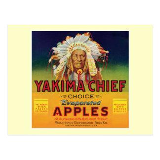 Carte Postale Étiquette vintage de pommes en chef de Yakima