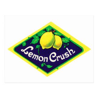 Carte Postale Étiquette vintage d'écrasement de citron