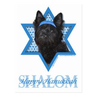 Carte Postale Étoile de David de Hanoukka - cairn Terrier Roscoe