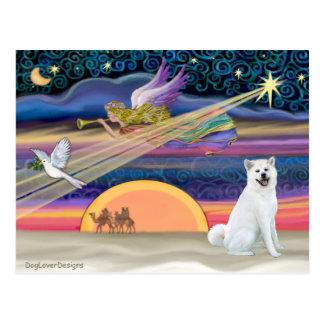 Carte Postale Étoile de Noël - Akita 1 (blanc)