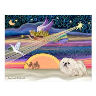 Carte Postale Étoile de Noël - Pekingese (blanc)
