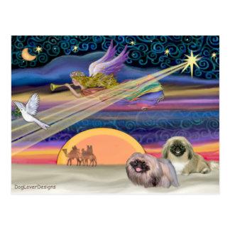 Carte Postale Étoile de Noël - Pekingese (deux)