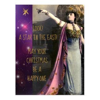 Carte Postale Étoile vintage d'actrice dans Noël est